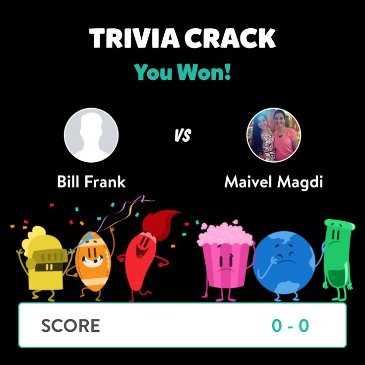 Bill Frank just won a game against Maivel Magdi in Trivia Crack!
