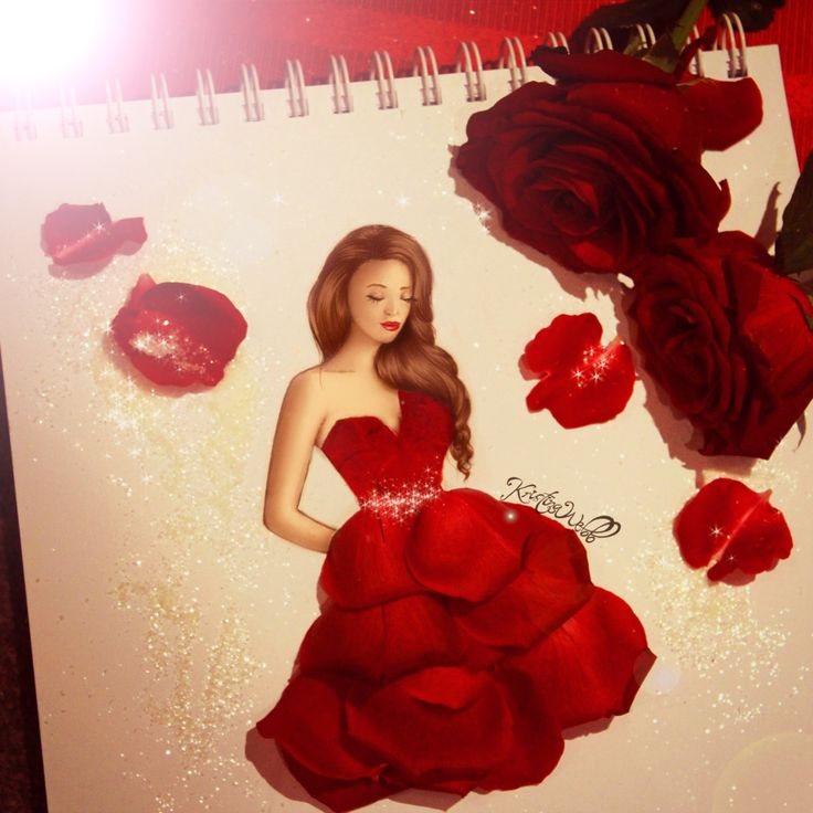 Rose drawing with real rose petals