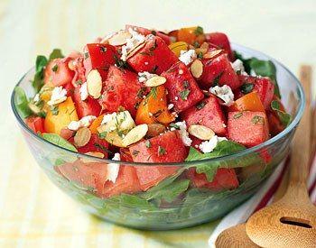 Tomato-Watermelon Salad with Feta and Toasted Almonds / Maren Caruso