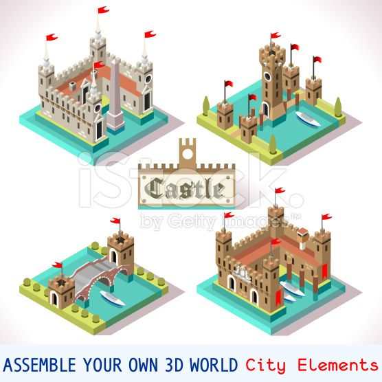 Castle 03 Tiles Isometric royalty-free stock vector art