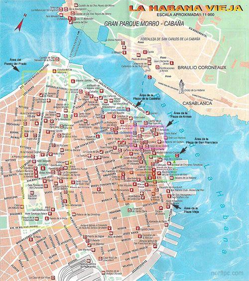 Mapa de la Habana Vieja con las principales edificaciones y sitios de interés turístico, arquitectónico, histórico y cultural