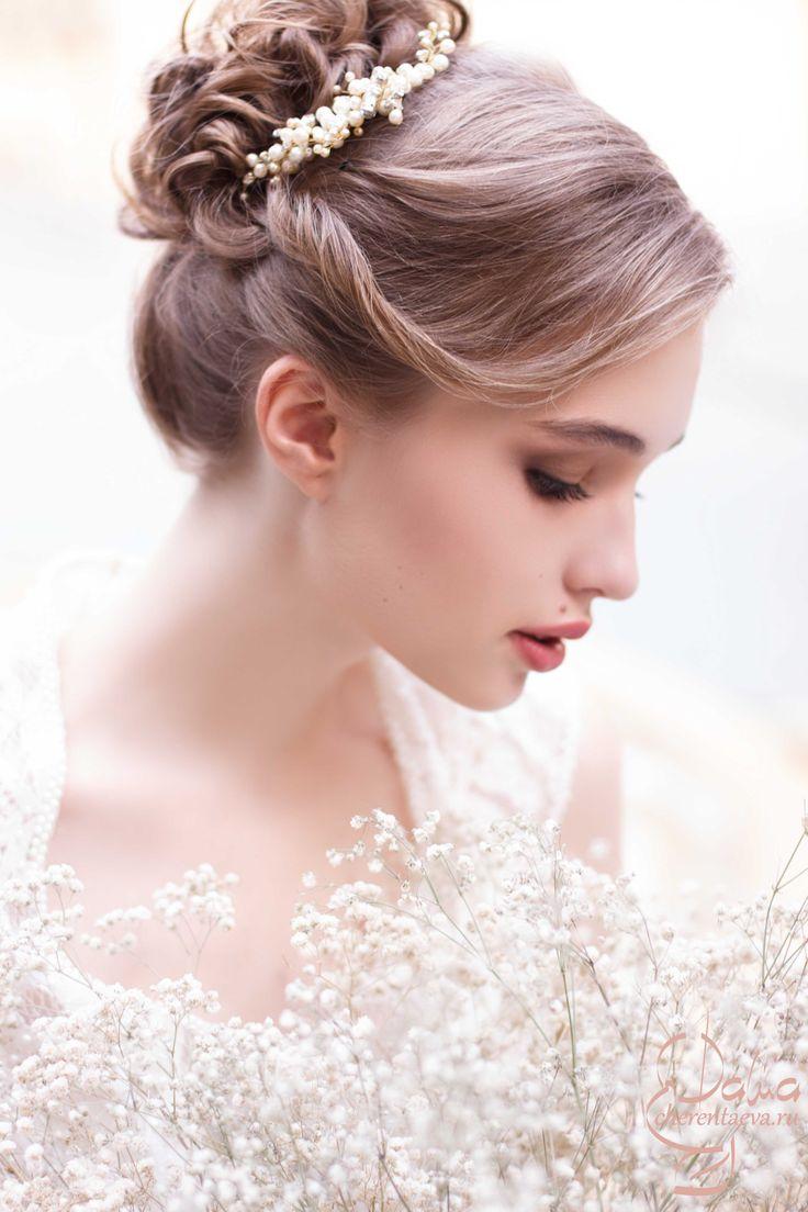 июль 2015 wedding bride make-up and hair Высокий пучок для невесты