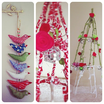 love the birds and fabric wrapped trees!!