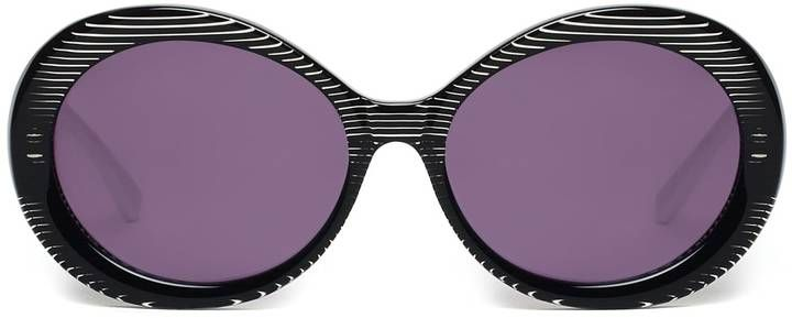Heidi London - Black Stripe Oval Sunglasses