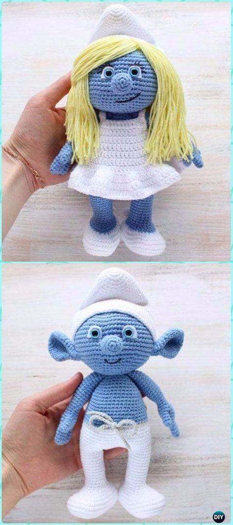 Crochet Amigurumi Smurf & Smurfette Free Patterns - Crochet Doll Toys Free Patterns