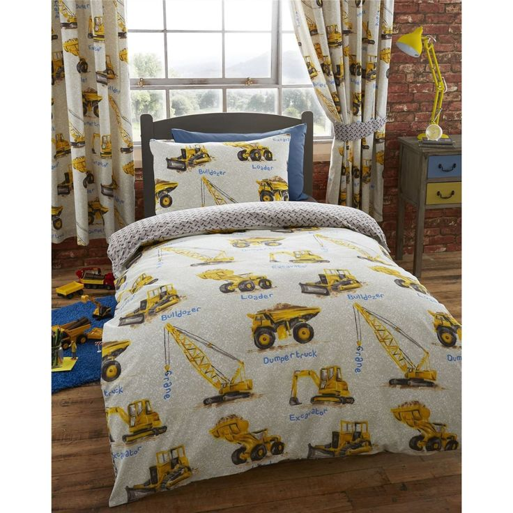Construction Equipment Boys Bedding Twin Duvet Cover / Comforter Cover Set    Yellow Cranes Trucks