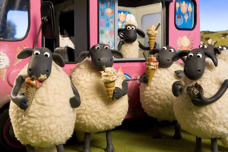 Shaun the Sheep and the Flock getting ice cream