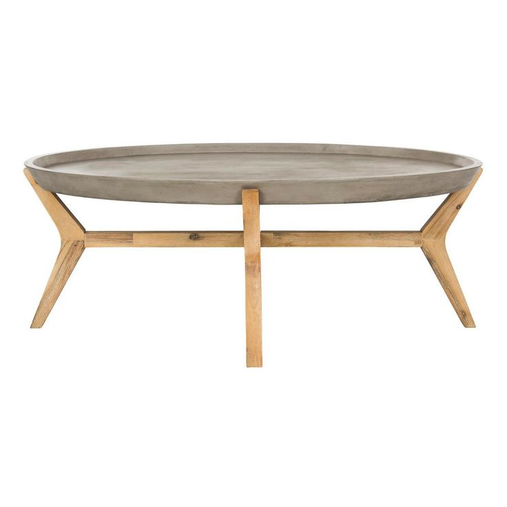 Safavieh Hadwin Indoor Outdoor Modern Concrete Oval Coffee Table