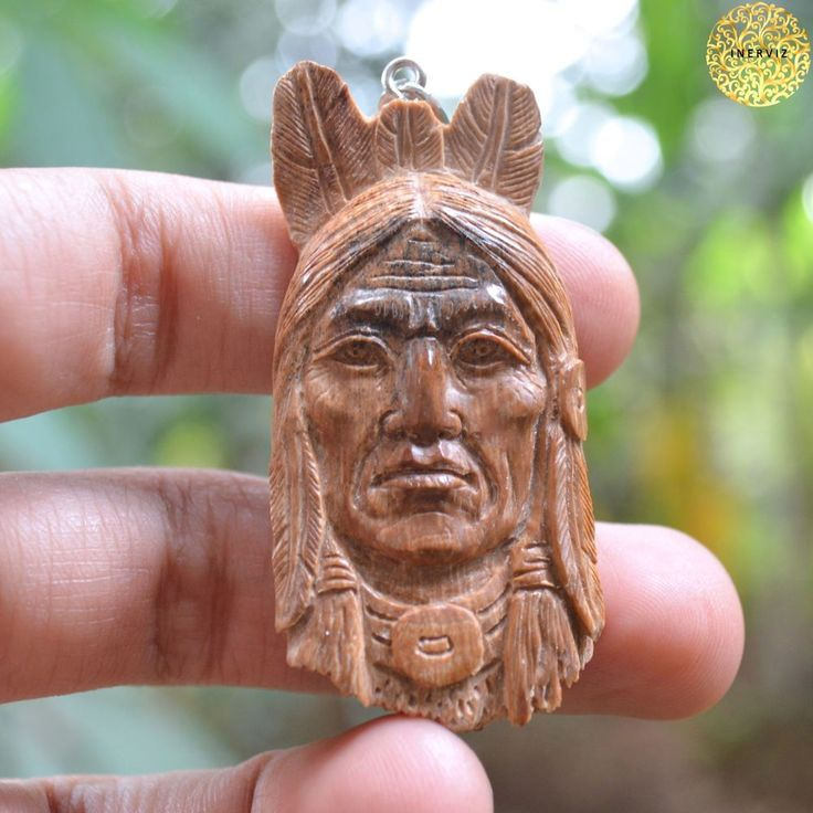 "2.4"" Hand Carved Indian 10gr Natural Fossil w 925 silver Bone Carving FM2161 #Handmade #Pendant"