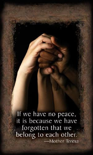"""""""If we have no peace, it is because we have forgotten that we belong to each other."""" Mother Teresa"""