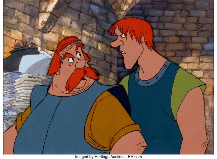 The Sword in the Stone Sir Ector and Sir Kay Animation Art Production Cel Setup (Walt Disney, 1963)