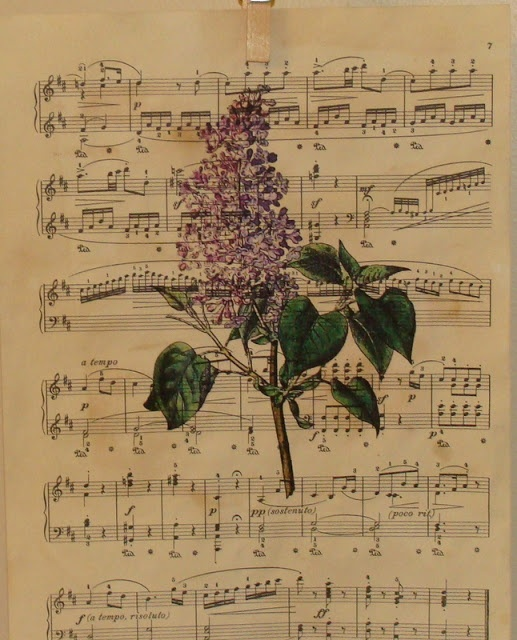 """Make Your Own Antique Sheet Music: photocopy, soak in tea for 30 minutes to """"age"""", iron to flatten. This was reprinted with a botanical image on top...beautiful!"""