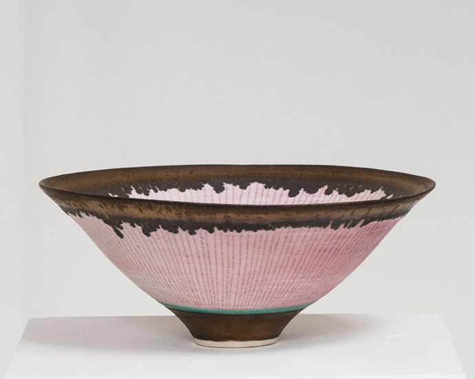 Lucie Rie, Pink Conical Bowl with Manganese Rim, 1970's