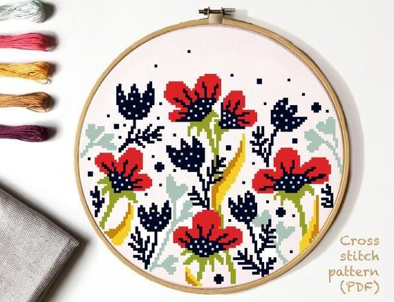 PDF Sampler Cross Stitch Digital Pattern Instant Download Modern Xstitch Chart Embroidered Picture Cross Stitch PDF Cross Stitch Easy