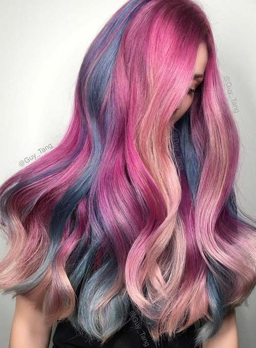 Pastel and Neon Hair Colors in Balayage and Ombre: Mermaid Hair #pastelhair #haircolors #neonhair #rainbowhair