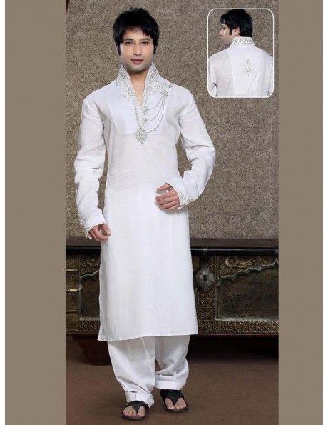 Off White Pathani Kurta Payjama Item code : SC7510  http://www.bharatplaza.com/new-arrivals/kurta-pyjamas/off-white-pathani-kurta-payjama-sc7510.html