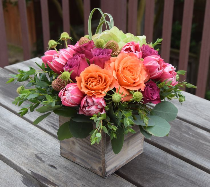 Floral gift in a wooden box