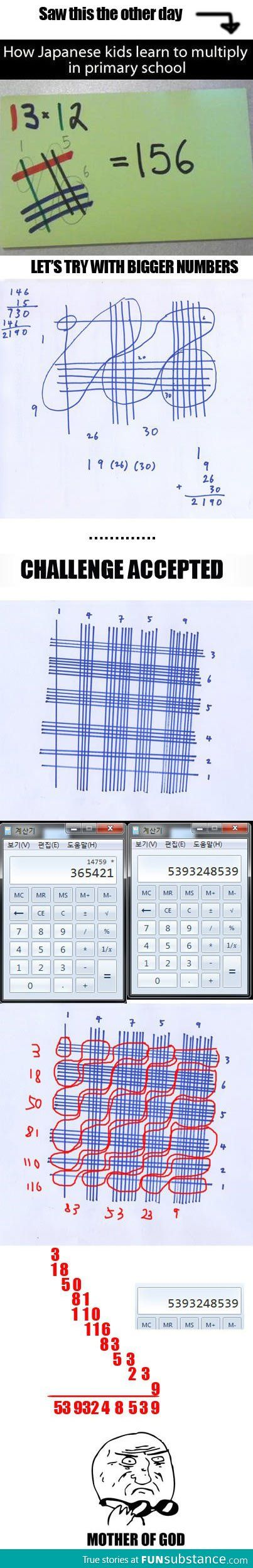 Japanese Math Multiplication Trick. Too tired to see for myself if this really works right now....