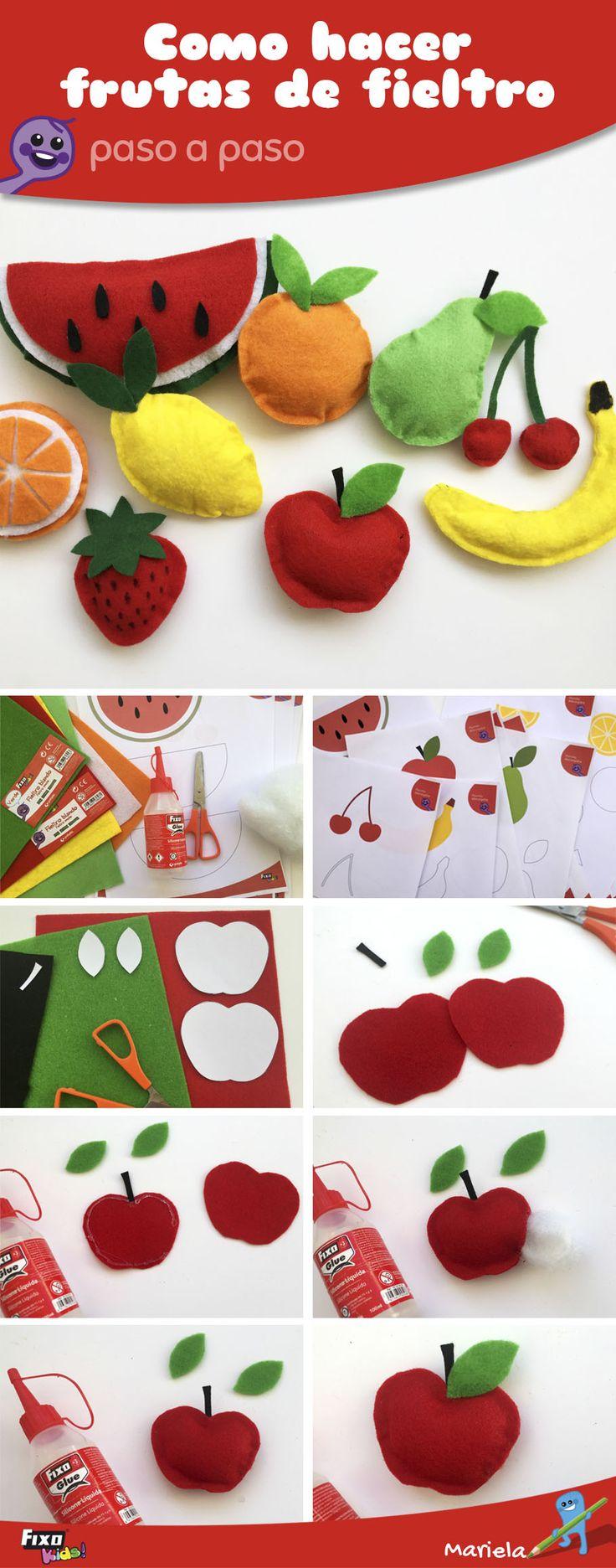 Cómo Hacer Frutas con Fieltro de manera FÁCIL   Manualidades FixokKids
