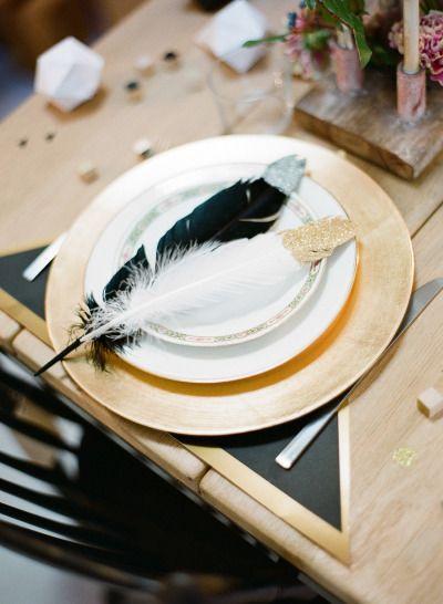 Glitter feather place setting: http://www.stylemepretty.com/2014/03/20/parisian-industrial-loft-wedding-inspiration/ | Photography: Greg Finck - http://www.gregfinck.com/