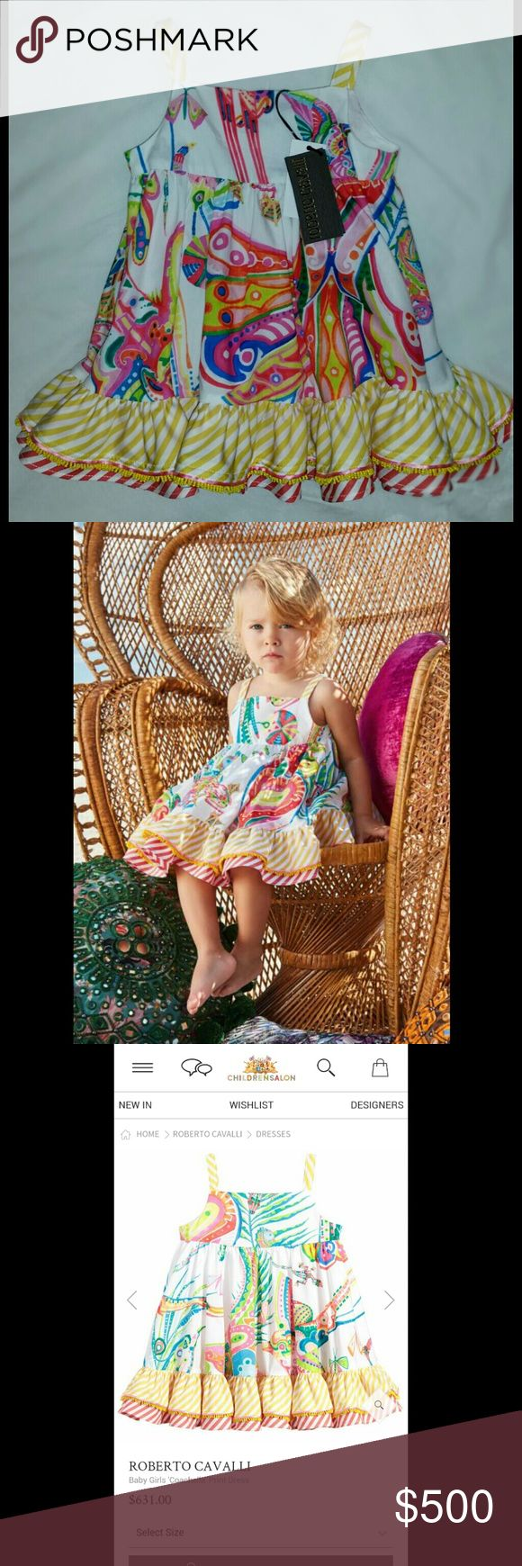 "Brand New 2017 Roberto Cavalli ""Coachella"" Dress Roberto Cavalli Spring/Summer Line ""Coachella"" Dress 6 months So Gorgeous in Person On Childrens Salon and Roberto Cavallis website right now for $630  Baby girls will love wearing this this adorable sun dress, with its vibrant jungle 'Coachella' print. The wonderfully full skirt is given extra movement and volume by layers of ruffles at the hem, perfect for swirling and swirling on a summer's day.?  Product number 160546 Roberto Cavalli…"