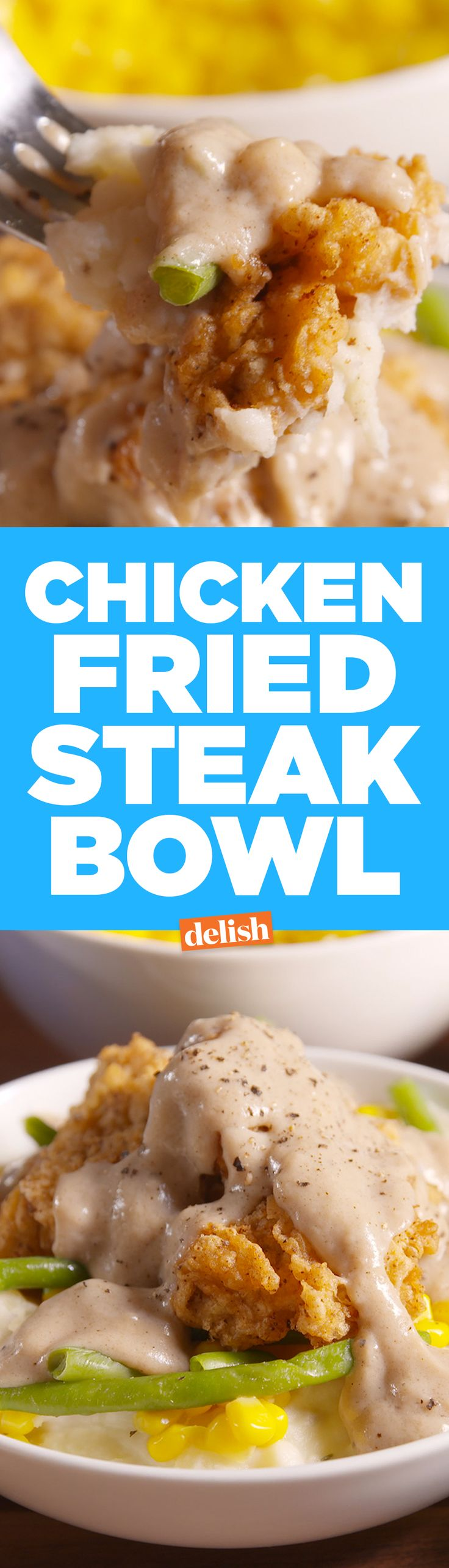 This Chicken Fried Steak Bowl will cure your winter blues. Get the recipe on Delish.com.
