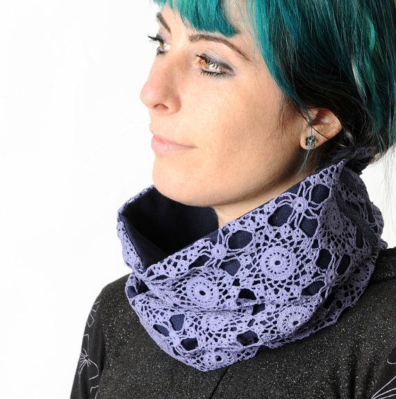 Womens lace cowl Purple cowl scarf Upcycled crochet lace
