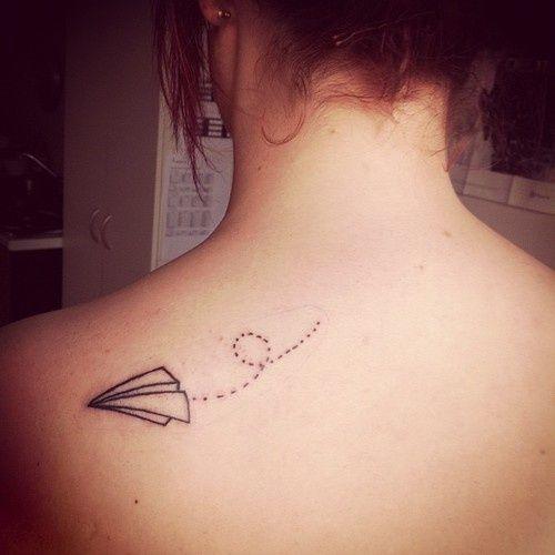 Paper airplane tattoo