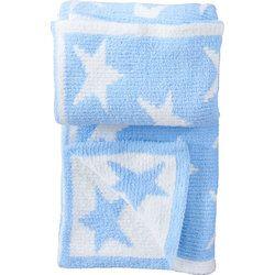 Chenille Pram Blanket in Blue Stars