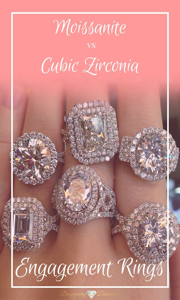 Considering moissanite or cubic zirconia as an alternative center for your engagement ring? Here's what you need to know, how they compare, and how they stack up to diamond engagement rings!