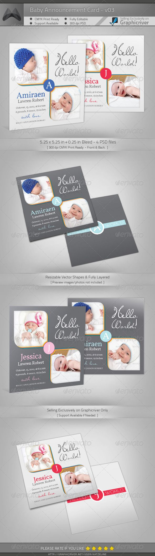 Boy Girl Baby Announcement Card 03 – Baby Announcement Cards Free