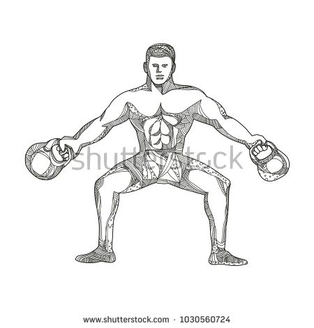 Doodle art illustration of a fitness athlete, strongman or personal trainer lifting two kettlebells viewed from front in black and white done in mandala style.  #weightlifter #doodle #illustration
