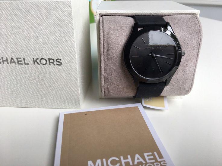 NWT Michael Kors Slim Runway Black Sillicon Three-hand 42MM Watch MK2513 in Jewelry & Watches, Watches, Parts & Accessories, Wristwatches | eBay