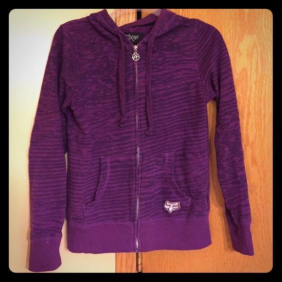 Purple Fox Zip-Up Hoodie Purple animal print Fox zip-up hoodie. Good condition. Fox Jackets & Coats