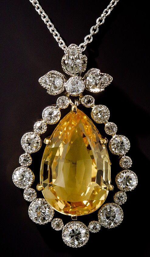 Edwardian Topaz and Diamond Pendant/Lang Antiques