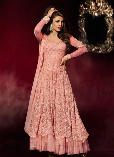 Peach Priyanka Chopra Net Anarkali Suit