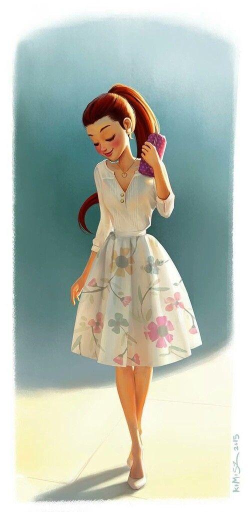 Girl in dress drawing