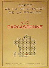CARTE DE LA VÉGÉTATION DE LA FRANCE, CARCASSONNE N° 72, CNRS 1964