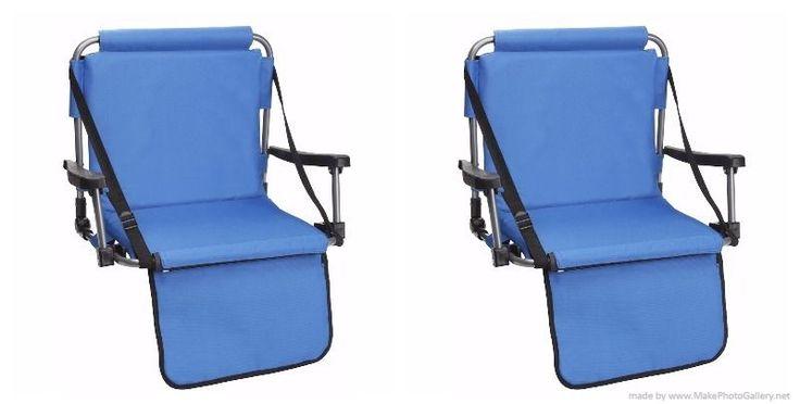 Set of Blue Stadium Bleacher Chairs W/ Armrest & Padded Back by Barton Outdoors #BARTONOUTDOORS