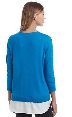 NWT CALVIN KLEIN WOMEN'S BLUE LAYERED LOOK SWEATER SIZE MEDIUM