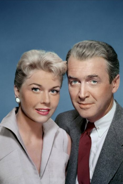 "Doris Day and James Stewart, 'The Man Who Knew Too Much' (1956). ""The only Hitchcock film to be awarded an Oscar in his lifetime-for best song by Doris Day!"" KB"