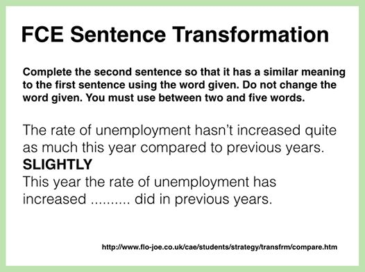 FCE Use of English: sentence transformation