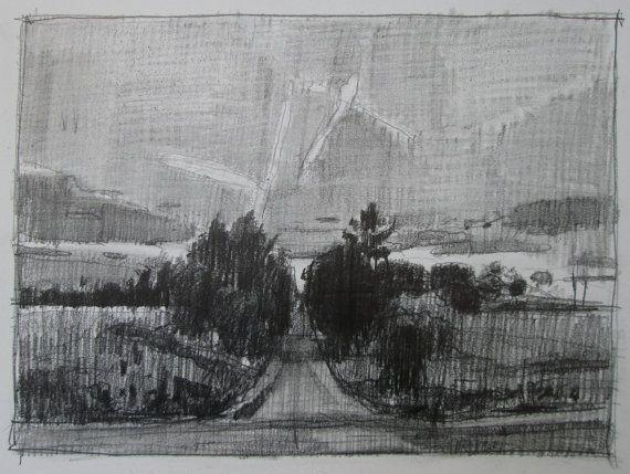 Evening Comes Original Pencil Landscape Drawing by Paintbox