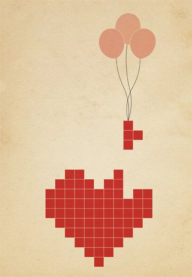 Lady Coco, Tetris Heart, original illustration, pencil drawing and painting and then a digitally colored background