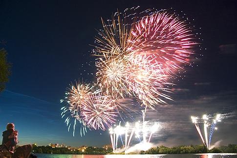 Fireworks above Regina, Saskatchewan, Canada