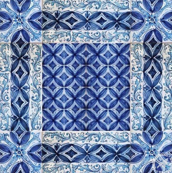 Blue And White Messina Italian Ceramic Tiles Wall Tile Mural Floor Panel Overseas