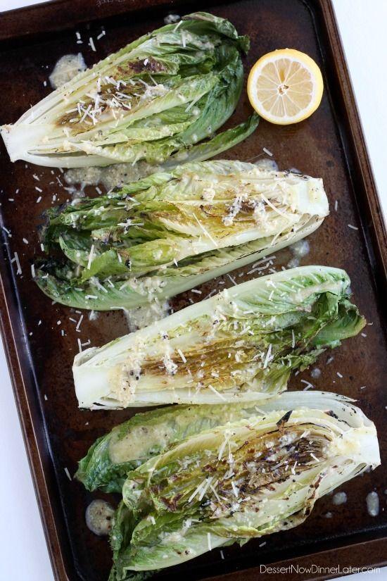 Grilled Romaine Hearts with Caesar Vinaigrette | DessertNowDinnerLater.com #grilled #romaine #lettuce #caesarsalad #summer #bbq