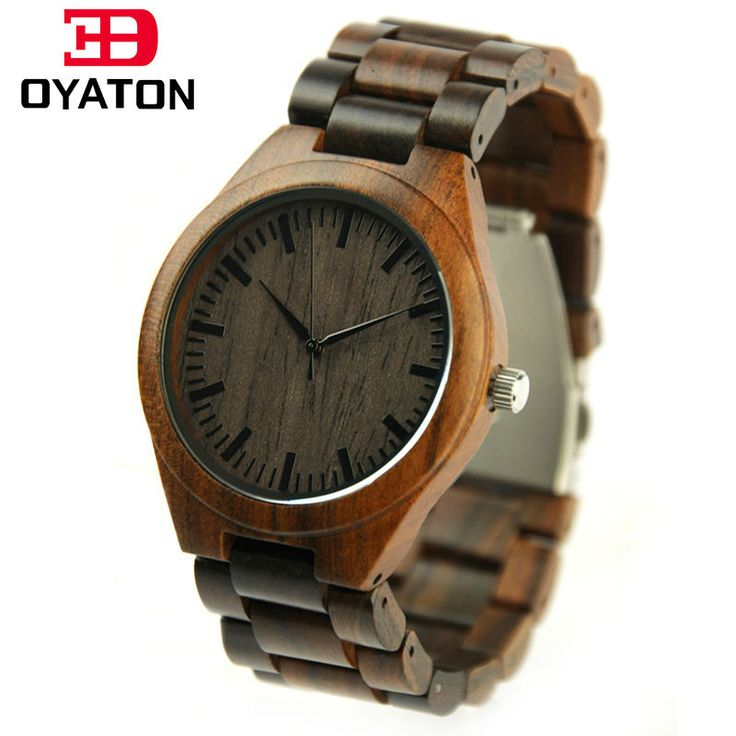 Hot Sale Men's Wood Watch With Sandalwood Strap Wooden Case Watches Good Quality Quartz Wristwatches Clock Men Top Gift Item