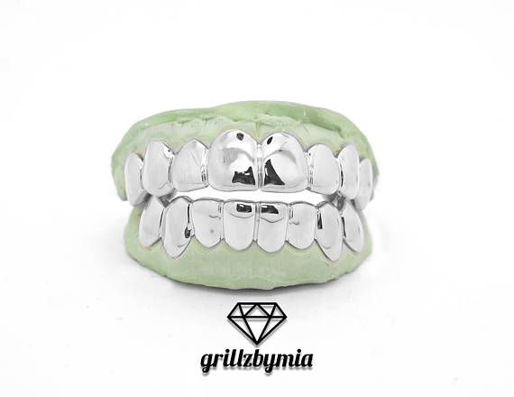 Custom 10k 14k 18k White Gold Grillz 4 6 8 Piece Top Bottom Set Gold Slugz Grill Solids Perm Pullouts White Gold Grillz Gold Grillz Grillz