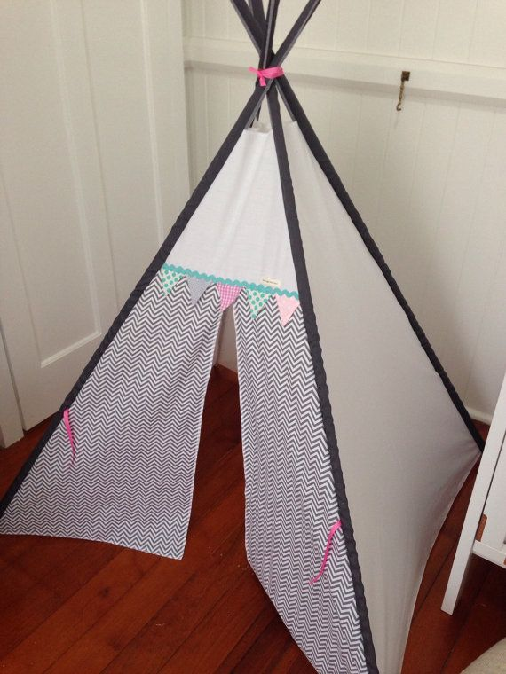 Grey chevron tepee with bunting trim. Poles by NestNFeather